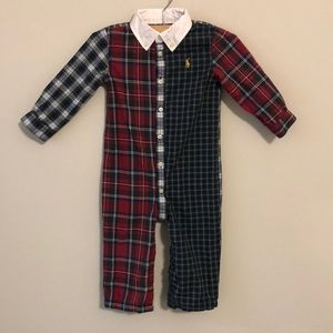 Ralph Lauren Mixed Plaid Lined Coverall - 12months